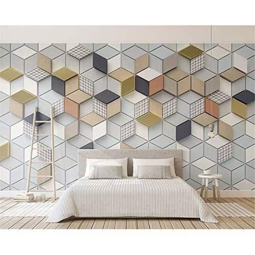 Shuangklei stoffen achtergrond-wandpapier De klantspecifieke decoratieve schilderijbehang nieuwe geometrische ruiten plaid 3D naaien 450 x 300 cm.