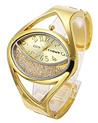 Gold #2 & Silver Tone Analog Bracelet Watch Oval Case Rhinestones