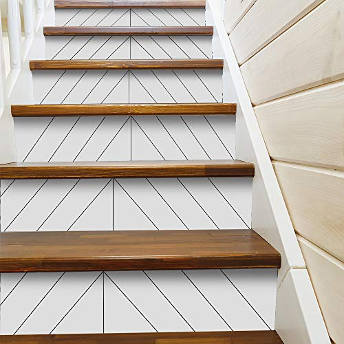 funlife 13 PCS Stair Sticker, Peel and Stick Staircase Decals, Self-Adhesive Waterproof Stair Riser Stickers, 39.37