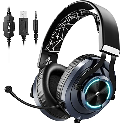 EKSA PS4 Gaming Headset Xbox One Headset with Noise Cancelling Mic & RGB Light - Gaming Headphones for PC, Laptop, Xbox One Controller (Adapter Not Included), PS4 - 3.5mm cable