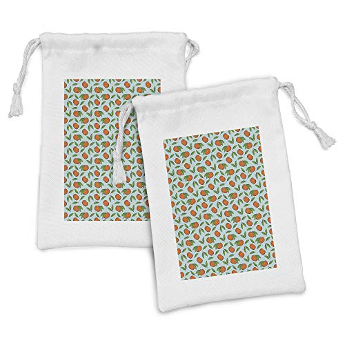 Ambesonne Tangerine Fabric Pouch Set of 2, Organic and Fresh Mandarin Fruits with Leaves Pattern, Small Drawstring Bag for Toiletries Masks and Favors, 9' x 6', Vermilion Pale Blue