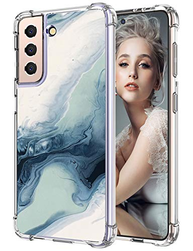 Funda para Samsung Galaxy S21, funda fina de silicona transparente, Galaxy S21, funda de 360 grados, suave, antigolpes, TPU, diseño de mármol, carcasa para Samsung S21 de 6,2 pulgadas