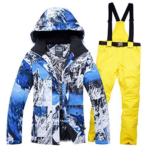 JXS-Outdoor Dames Skikleding - Winter Kleding Sneeuw Ski Suit - Waterdichte Ski Jassen Broek - Winddicht, Waterdicht En Warm, Geel, XL