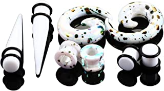 HQLA 4 Pairs A Set White Acrylic Swirl Taper Ear Taper Expander Tunnels Plugs with O-Rings Gauges Stretcher Expander