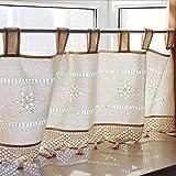 Unimall Kaffee Vorhang Scheibengardine Bistrogardine Jacquard mit Schlaufen B x H: 150 x 45 cm, Braun
