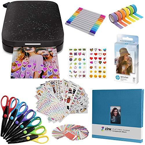 HP Sprocket Impresora fotográfica instantánea portátil de 2x3 Pulgadas (Negro) Paquete de álbum de Recortes