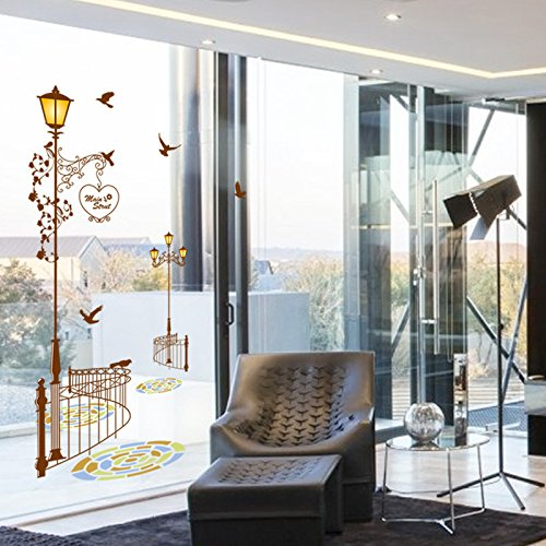 Hongrun Extraíble dormitorio sala de entrada pegatinas de pared estudio puerta corredera pegatinas de vidrio etiqueta de la lámpara de cerca del estilo del arte europeo 77 * 160 cm: Amazon.es: Hogar