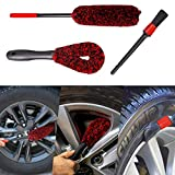 bzczh Car Wheel Woolie Brushes Kit - 1x Large Woolies Wheel Brush | 1x Short Handle Woolies Cleaner Brush | One Detailing Brush,Synthetic Wool Cleaning Brushes Tool for Car Tire Rim Washing