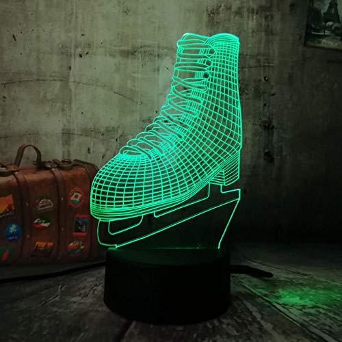 Nachtlicht Sport 3D Led Nachtlicht Schlittschuhe Multicolor 7 Farbwechsel Tischlampe Für Kinder Geschenk Weihnachten Haus Dekoration