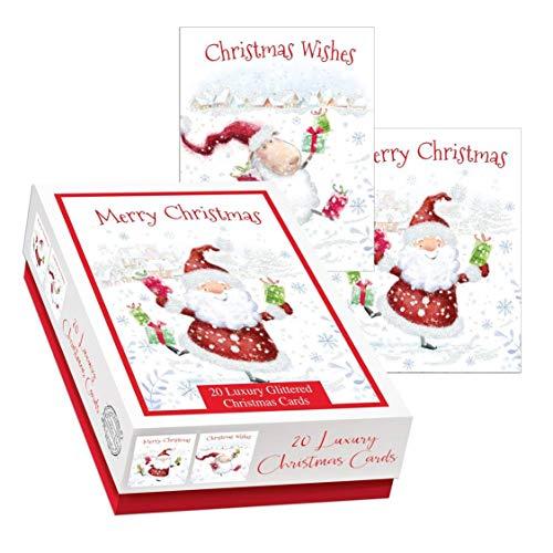 Doos van 20 schattige luxe kerstkaarten - 2 ontwerpen per verpakking - Jolly kerstman & geschenken