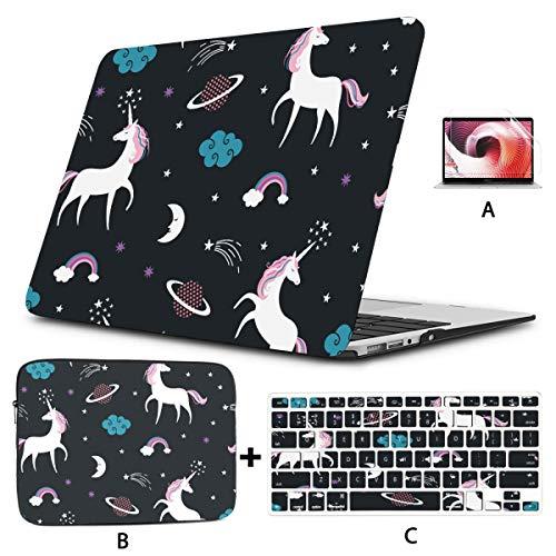 Case Macbook Air 13 Cute Cartoon Galaxy Rainbow Unicorn Macbook Air 13 Case Hard Shell Mac Air 11'/13' Pro 13'/15'/16' With Notebook Sleeve Bag For Macbook 2008-2020 Version