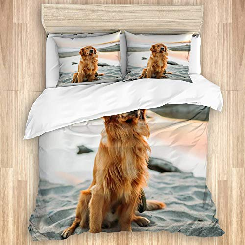 KASABULL Golden Hair Yellow Golden Retriever Dog Sitting On The Beach by The Sea Bedding Duvet Cover Set Quilt Cover With 2 Pillowcases,260 x 220cm Soft Warm Microfiber