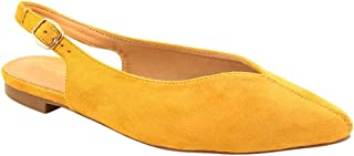 Chumbak Pointed Toes Mustard Suede Slingback Flats