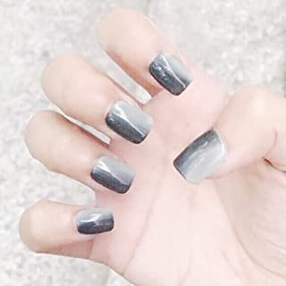 Drecode False Nails Gray Gradient Square Full Cover Fake Nails Simple Fashion Party Clip on Nails for Women and Girls(24Pcs)
