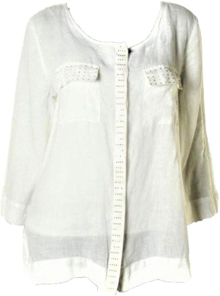 JM Collection $79 Womens Ivory Linen Button Down Blouse Top Shirt SZ 8 NWT New