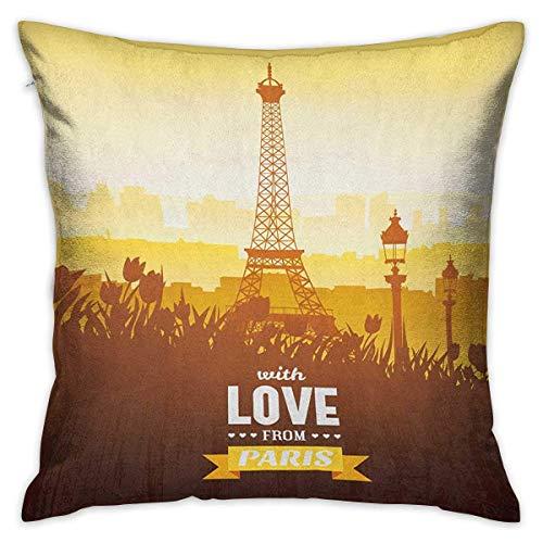 Paris Square Funny Pillowcase Torre Eiffel con tulipán y silueta de la ciudad Nostalgic Town Floral Romántico Naranja Amarillo Marrón Fundas de cojines Fundas de almohada para sofá Dormitorio Coche