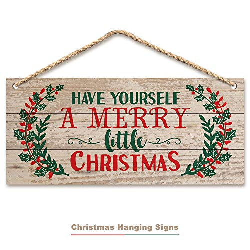 ACPOP Christmas Hanging Sign,Winter Decorative Wall Wood Signs, Indoor Outdoor Horizontal Sign for Home Classroom Office