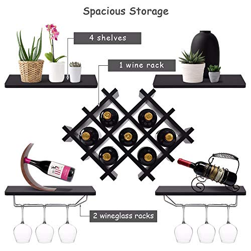 PYERJHGMBJN Set of 5 Wall Mount Wine Rack Set W/Storage Shelves and Glass Holder Black Modern Kitchen Furniture