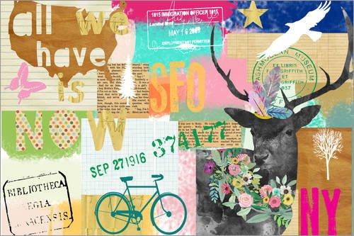 Posterlounge Leinwandbild 130 x 90 cm: All we Have is Now Collage von GreenNest - fertiges Wandbild, Bild auf Keilrahmen, Fertigbild auf echter Leinwand, Leinwanddruck