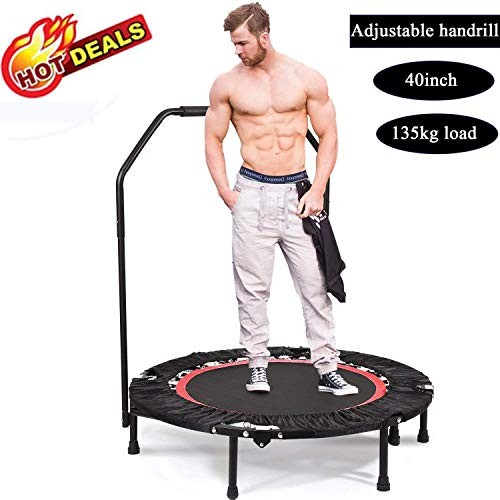 Tomasa 38-40 Inch Folding Rebounder Trampoline Mini Exercise & Fitness Trampoline with Safety Pad (102 x 112.5 cm, Adjustable legsRed)