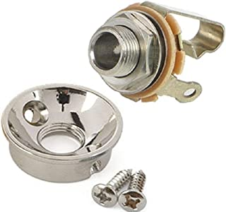 Electrosocket Jack Plate for Telecasters - Polished Nickel Finish + Switchcraft J11 Mono Jack