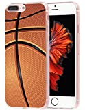 Case for Phone 7 Plus Basketball MUQR Flexible Gel Silicone Slim Drop Proof Protection Cover Compatible with iPhone 8 Plus & Case for Phone 7 Plus Cover - Basketball Sport Design Pattern