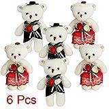Sealive 6 Pcs Small Plush Bears Bulk, Bride and Groom Wedding Bear, Plush...