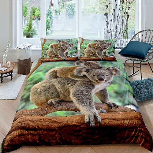 Koala Comforter Cover Set Cartoon Koala and Baby Bedding Set for Kids Boys Girls Cute Animal Pattern Duvet Cover Botanical Tree Branches Decor Bedspread Cover with 1 Pillowcase 2Pcs Bedding Twin