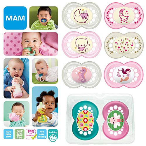 New: MAM Day & Night Soothing Set, juego de regalos para bebés de +6 meses, 4 chupetes de silicona Original +6 (2x día y 2x noche) y otros 4 para +16 (2x día y 2x noche), NIÑA (Girl)