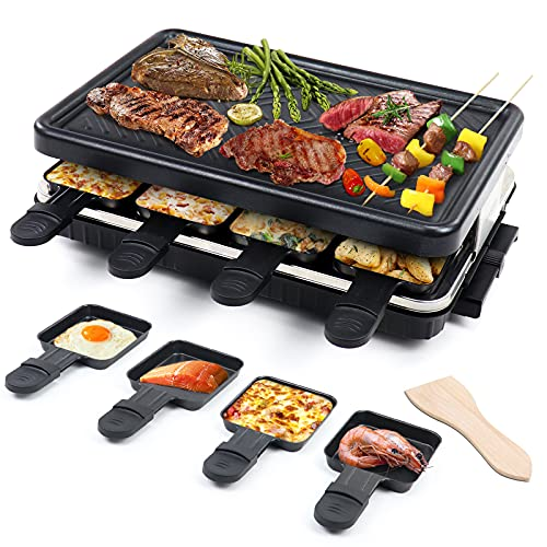 Electric Raclette Table Grill Indoor Smokeless Grill Family Barbecue 8 Mini Grill Pans 1 Wooden Spatula Non-Stick Coating Cooking Cheese Grill Korean BBQ Machine for Outdoor Party