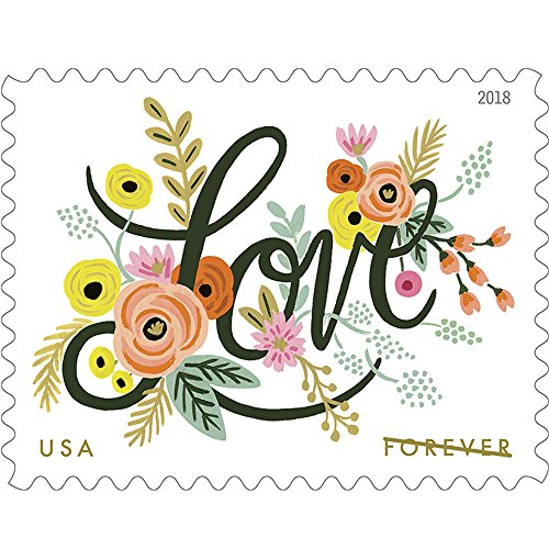 Love Flourishes 10 Sheets of 20 First Class Forever Postage Stamps Wedding Love Valentine 200 Stamps