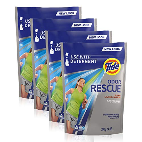 Tide Odor Rescue Plus Febreze Odor Defense, in Wash Laundry Detergent Booster Pods, Eliminates Odors, 18 Count, Pack of 4