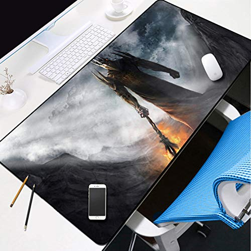 YVQLXJ Large Gaming Mouse pad XXXL with Stitch Edges Non-Slip Rubber Base Extended Mouse Mat Dark Lord of The Rings Monster for Premium-Textured 3mm Thick Home Office Desk mat 39.4×19.7×0.12 inch