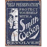 ブリキ看板 S&W - Self Preservation (1515) ティンサインプレート ティンサインボード アメリカ雑貨 アメリカン雑貨