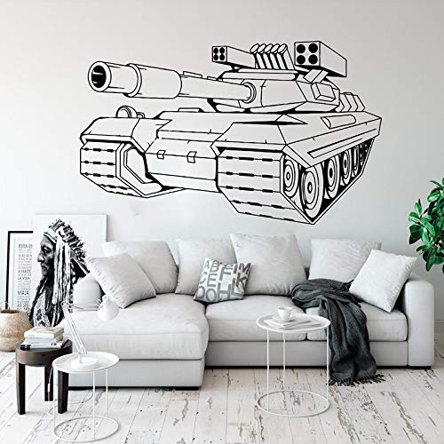 YuanMinglu Tank Wandaufkleber Junge Kind Zimmer Schlafzimmer Armee Tank Wandtattoo Soldat Krieg Spielzimmer Vinyl Dekoration 56x34 cm