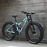 Ruedas de 26 pulgadas, bicicletas de montaña de doble suspensión completa para adultos, cuadro de acero con alto contenido de carbono, horquilla de resorte, freno de disco mecánico,Azul,27 speed