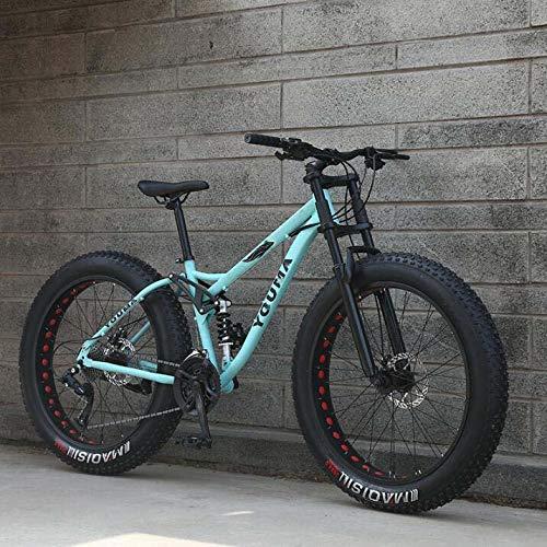 LJLYL Mountainbikes Dual Full Suspension für Erwachsene, Weichheckrahmen aus Kohlenstoffstahl, Vorderradgabel mit Verzögerungsfeder, mechanische Scheibenbremse, 26-Zoll-Rad,Blau,24 Speed
