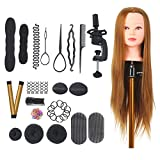 Anself 22 pollici Marrone Testina Parrucchiere Testa Studio Parrucchiere Manichino per Hair Styling Praticare Hair C Clamp Wig Stand 22PCS Hair Styling Braid Set