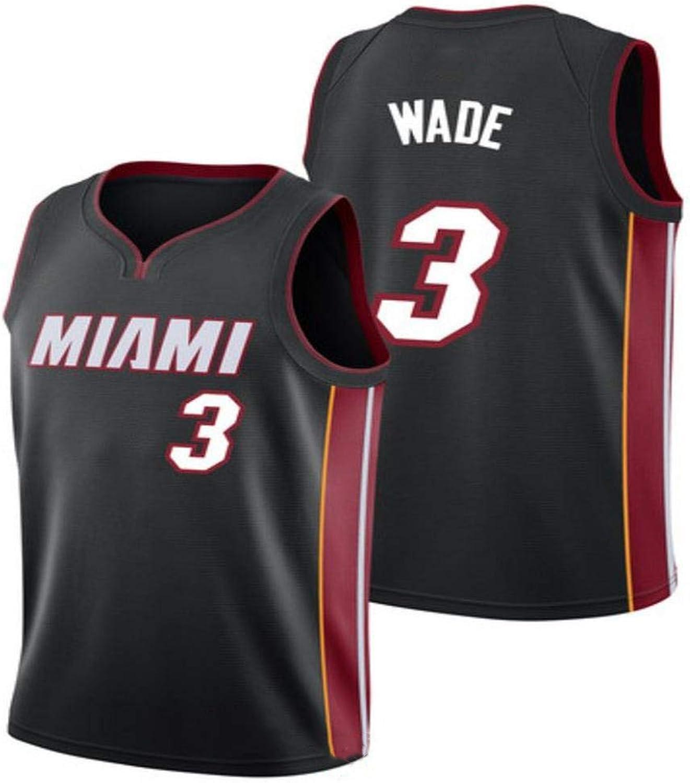 Dwyane Wade   3 Herren Basketball Jersey - NBA Miami Heat Swingman Trikots rmelloses T-Shirt schwarz(A)-L
