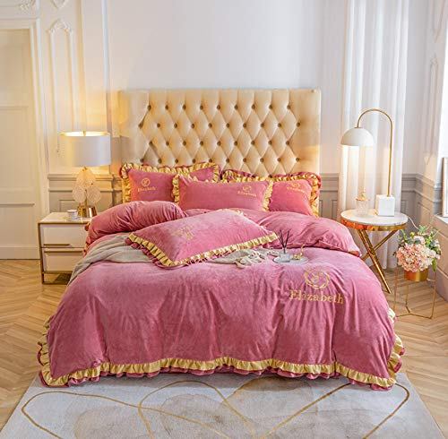DUIPENGFEI Comfortable, Soft And Warm Four-Piece Flannel Duvet Cover, Rose Red, Double Size Duvet Cover 200X230Cm