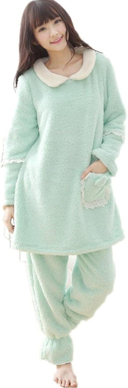 DMMSS Ladies Coral Velvet Pajamas Suit Autumn And Winter Cute Lapel Home Service 2Piece Set