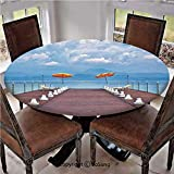 "Elastic Edged Polyester Fitted Table Cover,Luminous Sunshades and Sun Beds On a Jetty at Lake Seascape Scenic,Fits up 40""-44"" Diameter Tables,The Ultimate Protection for Your Table,Blue Orange Dried R"