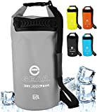 Enthusiast Gear Dry Bag Cooler - Roll Top Insulated Backpack – Portable, Collapsible, Waterproof with Padded Shoulder Strap - Perfect for Kayaking Fishing Beach Hiking - Orange, Grey, Blue -15L