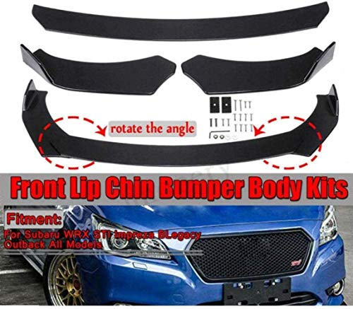 XDHN Frontstoßstangen-Spoiler-Kits Passend Für Subaru WRX Sti Impreza Legacy 2002-2019, Auto Body Spoiler Lip Chin Protector Splitter Diffusor,Schwarz,Black,Black