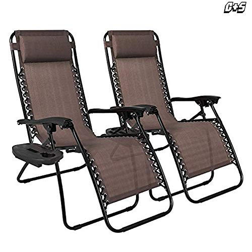 Set of Two Zero Gravity Reclining Sun Loungers In Brown | Garden Patio Foldable Reclining Chairs | Heavy Duty Design with Mobile and Cup Holding Tray