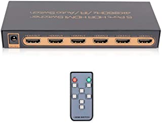4K@60Hz Premium 5 Port HDMI Switch with Remote, 5 in 1 Out HDMI Switcher, Support UHD, HDR10, Dolby Vision, Atmos, YCbCr ...