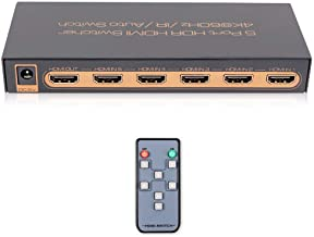 4K@60Hz Premium 5 Port HDMI Switch with Remote, 5 in 1 Out HDMI Switcher, Support UHD, HDR10, Dolby Vision, Atmos, YCbCr 4...