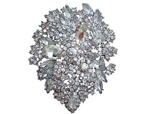 TTjewelry Classic Style Crystal Rhinestone Droplets Flower Art Nouveau Brooch Pins B10390500