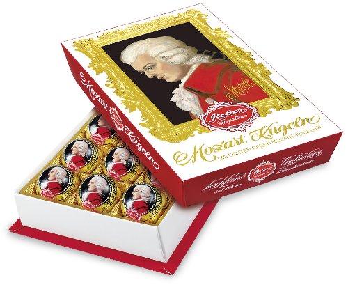 Reber Mozart-Barock, Echte Reber Mozart-Kugeln, Pralinen aus Zartbitter-Schokolade, Marzipan, Nougat, Tolles Geschenk, 15er-Packung
