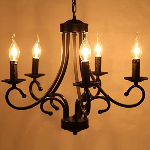 Iglobalbuy Vintage Eisen Kronleuchter 5 Kerze Stil Decke Pendelleuchte für Wohnzimmer Esszimmer - 3